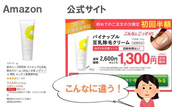 パイナップル豆乳除毛クリーム、Amazonとの比較